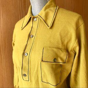 Wool Mustard Button Up Top